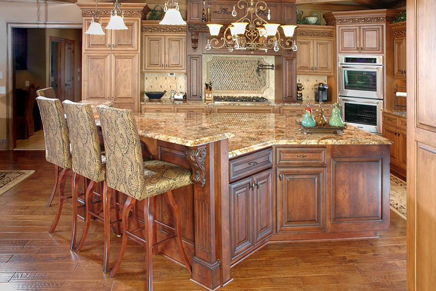 Luxury custom home galleries by steven moore custom homes for Gourmet kitchen island